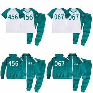 Kids Boys Girls SQUID GAME Tracksuit Coat T-shirts Tops+Trousers Pants Sportwear