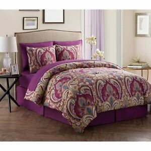 Full Queen King Bed Purple Green Paisley Damask 8 pc Comforter Sheet Set Bedding