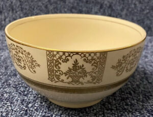 """Vintage Johnson Brothers England 'Victorian' 5"""" Yellow & Gold Bowl 1930's"""