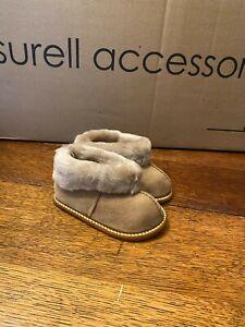 Kids Soft Sole Sheepskin Slippers w Suede Shell & Brown Shearling Cuff- Size 8
