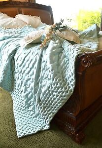 Soft Surroundings Adagio Comforter /Quilt Pearl Blue King + 2 King Shams