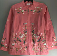 Quacker Factory Womens Plus Size 2X Embroidered Jacket Coral Full Zip Sequin New