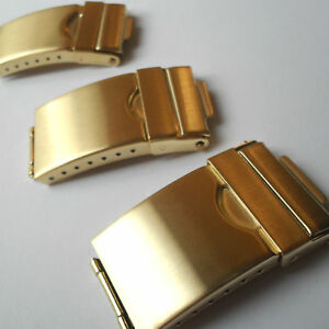 Watch Bracelet Catch Clasp Gold Plated Stainless Steel Replacement 3-Fold Gilt
