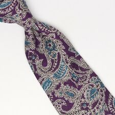 Josiah France Mens Wool Silk Necktie Purple Gray Teal Paisley Print Italy Tie