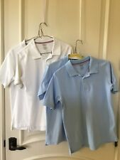 French Toast Boys Polo Shirt Size Xl 14/16 Lot 4 shirts Blue White Euc Uniform
