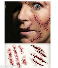 10PCS Halloween Scary Temporary Tattoo Horror Scar Face Body PVC Sticker Dressup