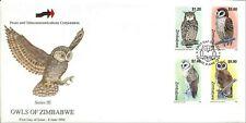 Zimbabwe - 1999 - Scott #820-823 - First Day Cover - Owls