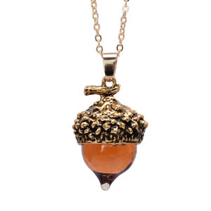 Glaze Glass Acorn Necklace Pendant Antique Gold with Long Chain - Ships Fast!