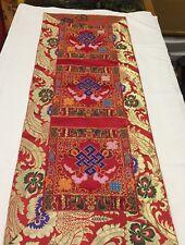 Tibetan Red endless knot silk brocade table runner / shrine cover / altar cloth