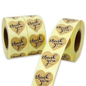 500pcs Cuore grazie Adesivi Etichette sigillanti per torte Confezione regal Dxi