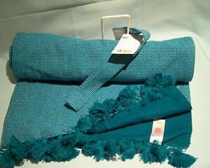 Sainsbury's 2020 Ipanema Brazilian Table Runner 220x33cms Cotton Blue/Tassels