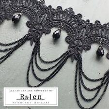 Impresionante Calidad Negro Encaje Gargantilla Collar & Perlas de Vidrio Gótico Biker Dom