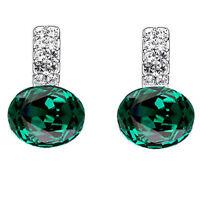 Beautiful Shiny Silver Crystal Emerald Green Crystal Drop Stud Earrings E950