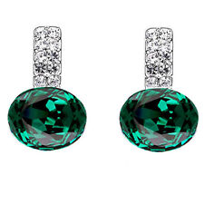 Beautiful Shiny Silver Crystal Emerald Green Crystal Drop Stud Earrings E950