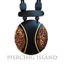 Halskette Anhänger Holz Amulett Capri Design Handarbeit N131
