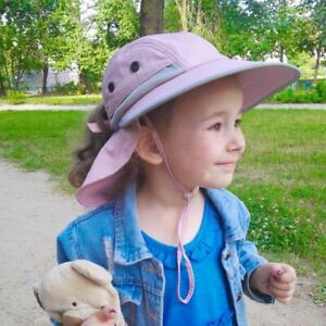 Kids Sun Hats Solid With Neck Flap Safari Sun Protection Cap For 2-12 Years Old