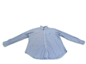 Ralph Lauren Shirt Blue Pinstripe Long Sleeve Button Down Men Size Large