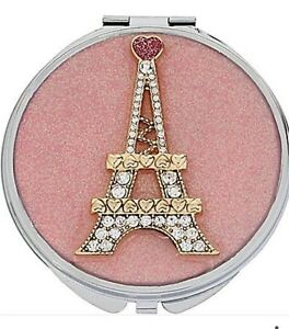 BETSEY JOHNSON COMPACT MIRROR RHINESTONES PARIS EIFFEL TOWER FAST SHIPPING