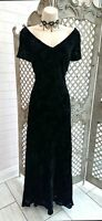 MONSOON 💋 BLACK VELVET DEVORE WIGGLE MAXI COCKTAIL DRESS 14 GOTH GOTHIC WEDDING