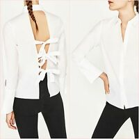Zara White Shirt Open Back Bows Top Size S L UK 8 12 US 4 8 Blogger ❤