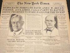1924 JULY 10 NEW YORK TIMES - DEMOCRATS NOMINATE DAVIS AND BRYAN - NT 5061