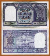 India,  10 Rupees, ND (1962-1967), P-40b, Letter B, Sig. 75 UNC > W/H