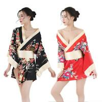 Women Satin Bathrobe Kimono Nighties Short Bath Robe Sexy Nightwear Sleepwear