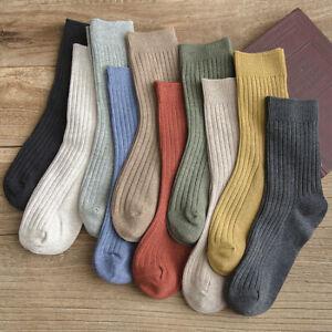 1Pair Women Socks Warm Wool-blend Vintage Thick Knit Winter Casual Crew Socks