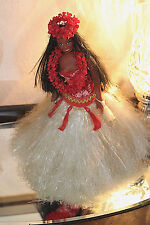 "VINTAGE 80'S DANCING HAWAIIAN HULA GIRL PEARLY SHELLS 12"" COLLECTIBLE SEE BELOW"