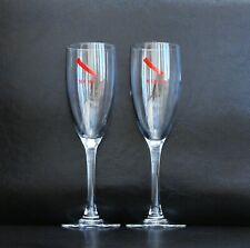 MUMM CHAMPAGNE FLUTES GLASSES STEMMED SET OF 2