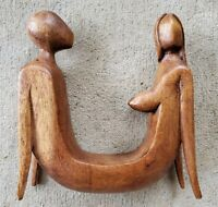 HAND CARVED WOOD SCULPTURE MID-CENTURY MODERN NUDE MALE FEMALE FIGURES SEXUAL