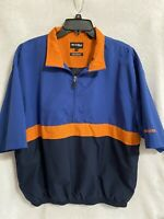 Bolle Golf Jacket Wind Breaker Blue Orange Short Sleeve 1/2 Zip Pullover Medium