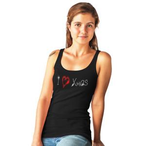 I LOVE XMAS Christmas Ladies Vest CRYSTAL DIAMANTE DESIGN all sizes