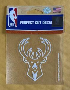 "Milwaukee Bucks 4"" x 4"" Logo Truck Car Window Die Cut Decal NBA New White"