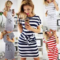 Women Summer Short Sleeve Slim Belt Striped Dress O Neck Dresses Casual