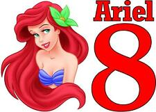 PERSONALISED LITTLE MERMAID ARIEL BIRTHDAY IRON ON T SHIRT TRANSFER ANY AGE/NAME