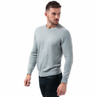 Mens Ben Sherman Saddle Crew Neck Knit In Grey- Long Sleeve- Ribbed Cuffs, Hem