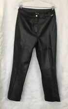 St John Sport Pants Black Leather Straight Leg High Waisted Size 14