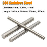304 Stainless Steel Round Metal Bar Solid Rod Dia 8mm-14mm Length 200mm-500mm