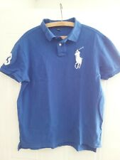 More details for vintage retro polo ralph lauren shirt blue rare jersey top golf mens size