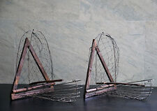 Pair of Bird Trap Wooden Aviary Cage primitive Handmade Craft Fork old vintage
