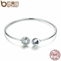 Bamoer Real .925 Sterling Silver Bangle with CZ Family Forever For Women Jewelry