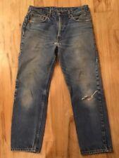 Vintage Distressed Worn Trashed Faded Levis 505 Denim Jean Pant Mens 34 x 30