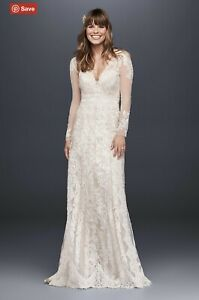 David's Bridal Melissa Sweet Linear Lace Wedding Dress Size 12