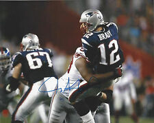 NY Giants Jay Alford autographed 8x10 photo crushing QB Tom Brady in Super Bowl