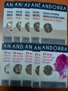 ANDORRA - 10 x 2 EUROS 2020  COIN CARD  (Iberoamerikanische + Frauenwahlrecht)