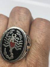 Vintage Scorpion Ring Silver White Bronze Size 9.25 Men's Coral Inlay