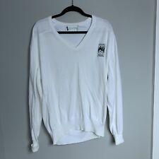 VTG JAL Big Apple Classic Mens L White Cotton V-Neck Golf Sweater LS Difini USA