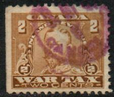 """Canada KG5, 2c bister """"War Tax"""" revenue/fiscal stamp used."""