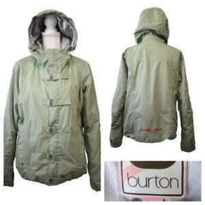 Burton Women's Snowboard Ski Hooded Jacket Sage Green Insulated Pockets Size L